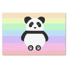 Cute Panda Drawing with Pastel Stripes Tissue Paper - black gifts unique cool diy customize personalize