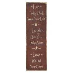 "Messenger Sign ""Live*Laugh*Love"" Country Rustic Primitive Burgundy $21.99"