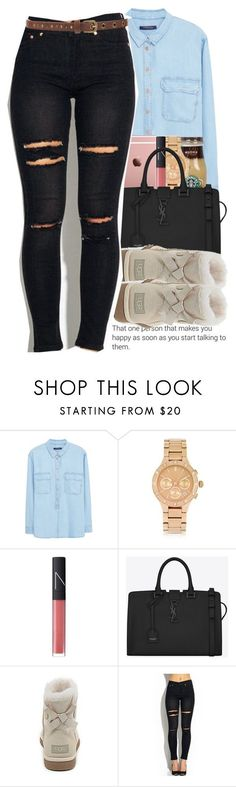"""""""Untitled #1225"""" by swagger-on-point-747 ❤ liked on Polyvore featuring Violeta by Mango, DKNY, NARS Cosmetics, Yves Saint Laurent, UGG Australia and Forever 21"""