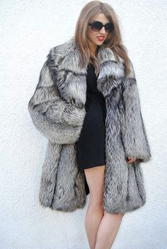 Détails sur FUR COAT JACKET SILVER FOX MILANO FASHION PELZE ...