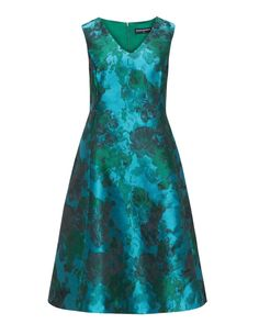 Manon Baptiste A-line jacquard cocktail dress in Green