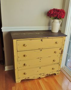 Chippy Antique Dresser in Miss Mustard Seed's Mustard Seed Yellow Milk Paint - Embracing Change Redo Furniture, Furniture Decor, Milk Paint, Yellow Furniture, Paint Furniture, Furniture Inspiration, Furniture Makeover, Yellow Painted Furniture, Painted Dresser