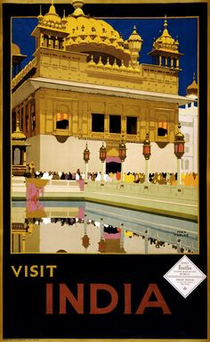 Visit India, travel poster by Fred Taylor, ca. 1935