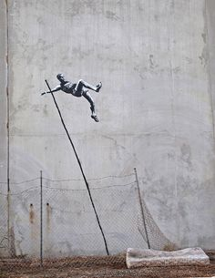 if you see an fence - jump over it! (banksy: london olympics 2012)