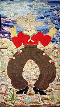 An American hooked wool rug depicting a Cowboy - circa 1940.