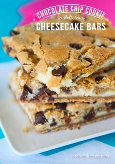Chocolate Chip Cookie Cheesecake Bars.  You need this easy recipe in your collection!