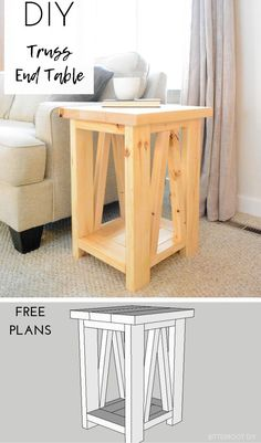 wood projects for beginners ; wood projects that sell ; wood projects for kids ; wood projects for the home ; wood projects for men Diy Table, Diy Furniture Projects, Woodworking Bench Plans, Simple Woodworking Plans, Diy End Tables, Furniture Projects, Diy Woodworking, Wood Diy, Woodworking Furniture Plans