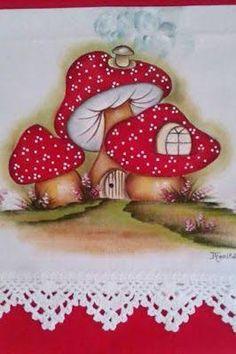 Resultado de imagem para pintura em tecido pinterest Mushroom Crafts, Mushroom Art, Diy And Crafts, Crafts For Kids, Paper Crafts, Tole Painting, Fabric Painting, Drawing, Textile Art