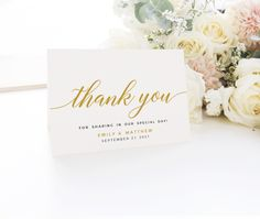 Simple Thank you cards, Wedding thank you cards, Thank you note, Gold Thank you card template #BSC020GLD Wedding Menu Cards, Wedding Thank You Cards, Wedding Signs, Blush Wedding Reception, Thank You Card Template, Seating Plan Wedding, Welcome To Our Wedding, Love Sparkle, Invitation Set
