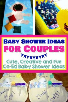 Baby Shower Ideas for boys AND for girls! Here's a unique baby shower theme: Have a COUPLES baby shower. Shower the mom-to-be AND the dad-to-be with these unique couples baby shower ideas - fun and easy baby shower games, decorations, food and frugal D Unique Baby Shower Themes, Easy Baby Shower Games, Budget Baby Shower, Baby Shower Fun, Baby Shower Parties, Baby Boy Shower, Joint Baby Showers, Office Baby Showers, Couples Baby Showers