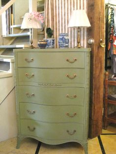 Tall Chest with serpentine front and pretty details painted with Chalk Paint® by Annie Sloan in Chateau Grey