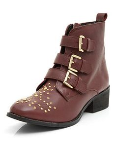 Dark Red Leather Studded Triple Strap Ankle Boots  | New Look