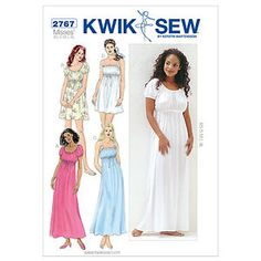 I can make this pattern. This is so doable for me and my girl. :) Dressmaking Sewing Pattern Kwik Sew 2767 Ladies Nightgowns Size XS - XL | eBay