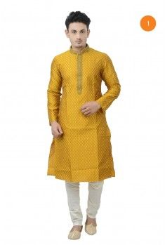 Manyavar Designer Kurta. This exquisite brocade cotton kurta with heavy embriodery on the collar and placket is a must have for your wardrobe. The embriodery is done with beeds and fancy stones.