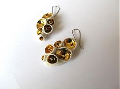Porcelain earrings with golden glace - Handmade design by monky