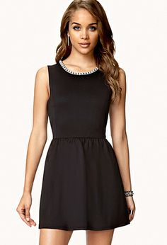 Rhinestoned Fit & Flare Dress | FOREVER21 - 2055379451