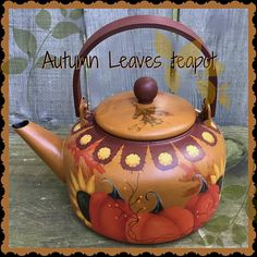 Autumn Leaves E-Pattern by Vicki Saum – Cupboard Distributing Autumn Painting, Tole Painting, Americana Paint, Teapot Design, Tim Holtz Stamps, Decoupage, Halloween Patterns, Painted Pots, Painting Patterns