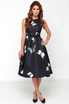 Chic Black Dress - Butterfly Print Dress - Midi Dress - $111.00