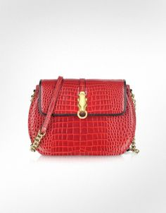 Roberto Cavalli Class - Red Croco-Embossed Leather Shoulder Bag