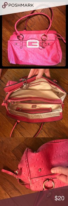 Guess Pink Purse Guess Pink Purse Gently Used Bottom is scuffed but the rest of the Purse is fine Smoke free home Ask all questions Guess Bags Shoulder Bags