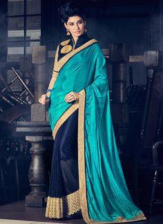 Buy Navy Blue N Turquoise Blue Half N Half Saree, half-n-half-saree Online Shopping, SASBHLMG12611