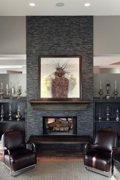 Grey Stone Fireplace Sofa and stone fireplace