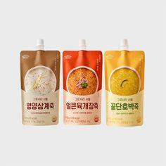 그로서리 서울 죽(7개입) 3종 택 1 Milk Packaging, Pouch Packaging, Food Packaging Design, Branding Design, Egg Logo, Snack Recipes, Snacks, Japanese Graphic Design, Food Labels