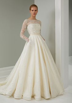 Long sleeve, full skirt wedding dress STEVEN KHALIL 2015 RTW COLLECTION #StevenKhalil