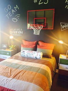 Boy's basketball bedroom with chalkboard wall