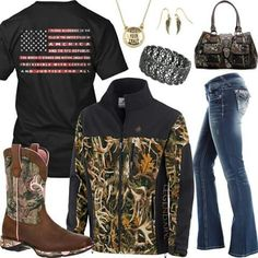 Pledge of Allegiance Camo Jacket Outfit - Real Country Ladies Country Girl Outfits, Country Wear, Country Girl Style, Country Fashion, My Style, Country Girls, Country Girl Clothes, Country Music, Camo Outfits