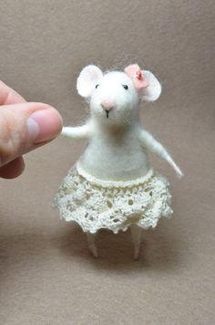 Coquet Little Mouse -  needle felted ornament animal, felting dreams. $48.00, via Etsy.