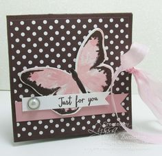 """card making video tutorial: Easy """"Squash Fold"""" card tutorial by Song of My Heart Stampers ... fun card opens up to a big square when untied ..."""