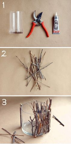 Easy (and affordable) DIY candle holder projects for your wedding (or home DIY Decorative Tree Branches Candle Holder - spray the branches white and black first.DIY Decorative Tree Branches Candle Holder - spray the branches white and black first. Diy Candle Holders, Diy Candles, Rustic Candles, Candle Jars, Candle Sticks, Wood Sticks, Glass Jars, Rustic Candleholders, Glass Glue