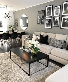 The living room is the principal gathering area and thus the highlight of every home. To earn a little living room feel bigger, consider using the advice below. The secret to making the most out of a little living room… Continue Reading → Living Room Decor Cozy, Paint Colors For Living Room, Living Room Grey, Home And Living, Cozy Living, Black White And Grey Living Room, Black Living Room Furniture, Dining Living Room Combo, Modern Small Living Room