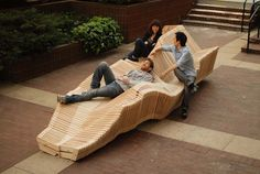 Parametric and Polymorphic Installation for a Bench by Ten architecture students from Columbia University GSAPP, a kinetic installation utilizing an innovative design