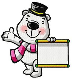 White bear the magician machine embroidery design. Machine embroidery design. www.embroideres.com