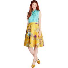 Vintage Inspired Long Full Ikebana for All Skirt ($70) ❤ liked on Polyvore featuring skirts, bottoms, modcloth, apparel, yellow, midi skirt, high waist skirt, yellow skirts, polka dot midi skirt and high-waisted skirts