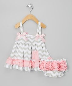 Take a look at this Light Pink & Gray Zigzag Swing Top & Diaper Cover by Sweet Cheeks on #zulily today!
