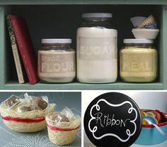 Planning on doing this with some jars I have, but the 'chalkboard' tin gives me ideas for those tins I rescued from the kitchen @ work.
