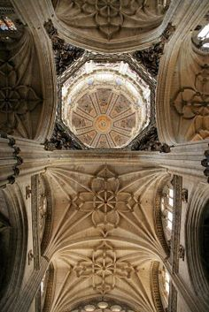 Interior, ceiling and dome of Salamanca cathedral in Spain