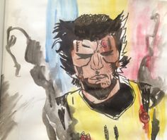 Illustration by: Collin Corbean                          Wolverine. Ink and water color. 12.25.14 (fb)