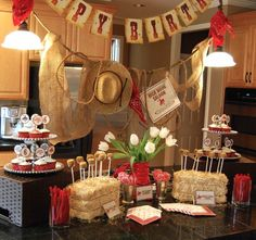 Love her Cowboy/Cowgirl birthday party theme. Wanted posters, lasso practice, stampede, branding love it all!
