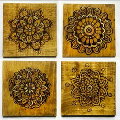 rustic coasters, rustic home decor, wooden coaster set, woodburned coasters, mandala coaster, wood burned mandala, pyrography Hand burned by Ricki Timber Tavi! Please visit my shop at https://www.etsy.com/shop/RickiTimberTavi