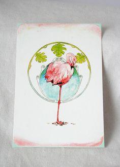 "Postkarte ""Flamingo"""