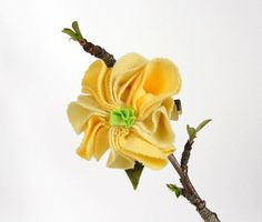Yellow floral hair clip upcycled fabric by fairyshadow on Etsy, $6.00