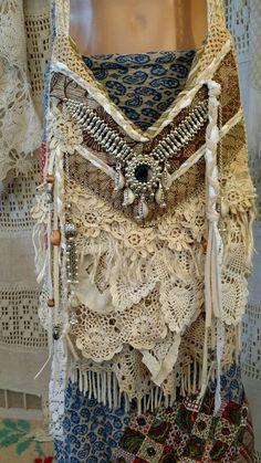 Handmade Vintage Lace Crochet Cross Body Bag Hippie Boho Fringe Purse tmyers #Handmade #MessengerCrossBody