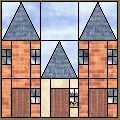 HOUSE BLOCK............PC  ..............Row Houses: Free quilt pattern for this and other house blocks/quilts. Lovely…
