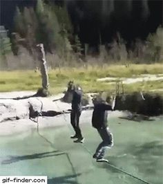 Guys Fall Off Single Rope Bridge