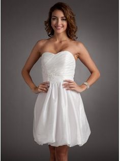 A-Line Princess Sweetheart Short Mini Taffeta Homecoming Dress With Ruffle  Beading Appliques Lace - JJsHouse ffb2dd904
