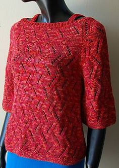 cropped eyelet branch pullover sweater pattern for knitting